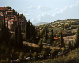"""""""Rolling Hills of Italy,"""" by Bill Saunders 24 x 30 - acrylic $4840 Unframed"""