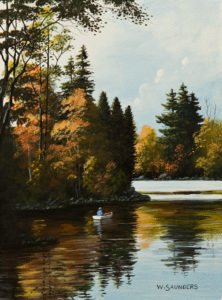 """SOLD """"Rowboat,"""" by Bill Saunders 6 x 8 - acrylic $500 Unframed"""
