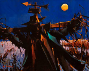 """ON HOLD """"Scarecrow on a Harvest Moon or Poor Edward Scarecrow,"""" by Michael O'Toole 16 x 20 - acrylic"""