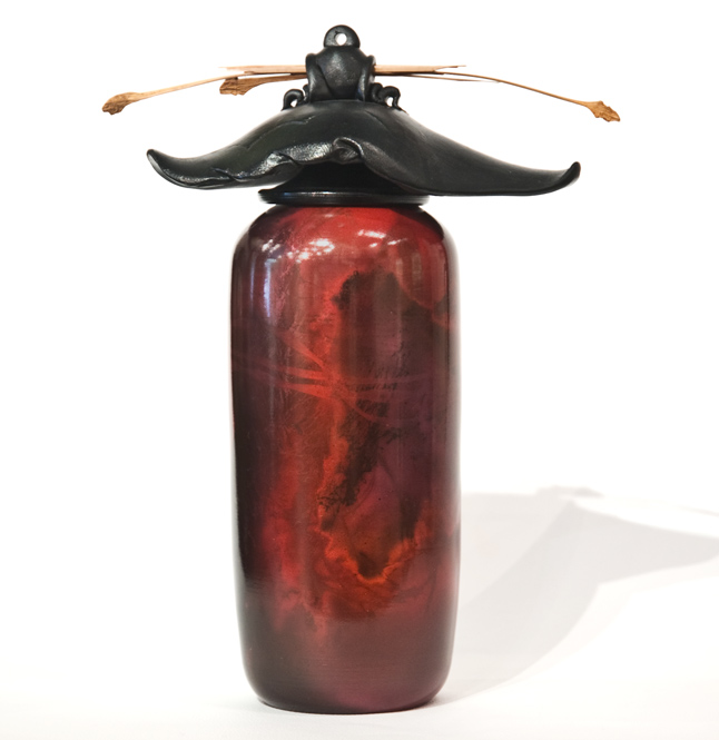 """Vase (200) by Geoff Searle pit-fired pottery - 10"""" (H) $400"""