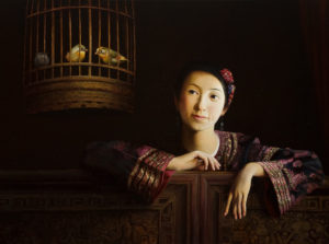 """SOLD """"Serenity and Grace,"""" by Dongmin Lai 23 1/2 x 31 1/2 - oil $9500 Framed"""
