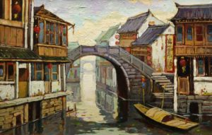 """""""Sunny Morning, Suzhou,"""" by Dongmin Lai 9 x 13 - oil $1100 Framed"""