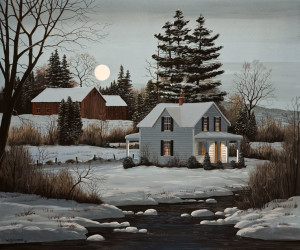 """SOLD """"There's a Moon Out Tonight,"""" by Bill Saunders 20 x 24 - acrylic $3400 Unframed"""