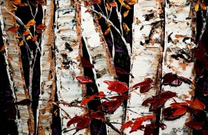 "SOLD ""Through the Foliage""  by Maya Eventov 20 x 30 – acrylic $1710 Unframed"