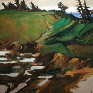 "SOLD ""Tidal Pools - Chesterman Beach,"" by H. E. Kuckein 48 x 48 - oil $7500 Unframed"