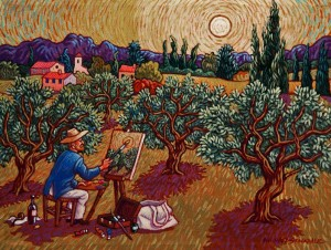 "SOLD ""Vincent in Provence,"" by Michael Stockdale 9 x 12 - acrylic $500 Unframed"
