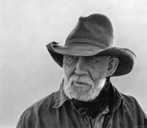 """SOLD """"The Weathered Rancher,"""" by Jim Nedelak 11 x 12 - charcoal drawing $2250 Framed"""