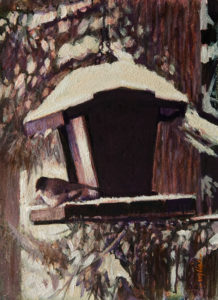 "SOLD ""Winter Feeder,"" by Alan Wylie 5 x 7 - acrylic $650 Unframed $800 Custom framed"