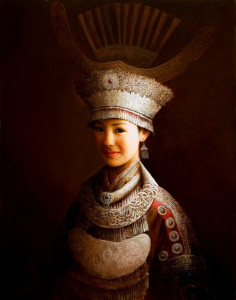 """SOLD """"Yi Beauty,"""" by Dongmin Lai 22 x 28 - oil $8000 Framed"""