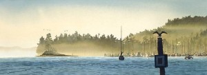 """""""Boats at Sunrise,"""" by Carol Evans 27 1/4 x 10 Edition is signed by artist and limited to number of 350 $235 Unframed"""