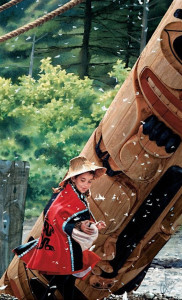 """""""The Carver's Daughter,"""" by Carol Evans 12 x 19 3/4 - Giclée on paper (edition size of 100) - $345 Unframed 15 1/2 x 25 5/8 - Giclée on canvas (edition size of 295) - $625 Unframed"""