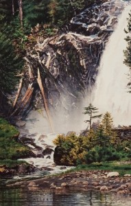 """""""Chatterbox Falls,"""" by Carol Evans 19 3/4 x 12 1/2 Edition is signed by artist and limited to number of 350 $225 Unframed"""