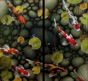 """""""Comes Around"""" diptych - overall size 30 x 32 Giclée print on canvas Artist's Proof - $1,420 CAD Unframed USD $1095 Unframed"""