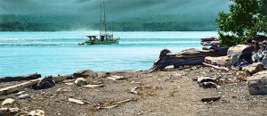 """""""Fish Boat off Kuper Island,"""" by Carol Evans 15 x 35 - Giclée on paper (edition size of 295) - $495 Unframed 15 x 35 - Giclée on canvas (edition size of 100) - $675 Unframed"""