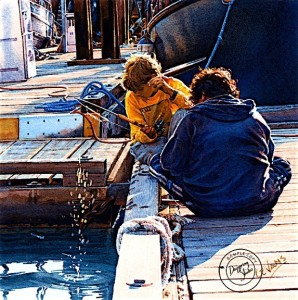 """""""Fishing Friends,"""" by Carol Evans 8 x 8 - Giclée on paper (edition size of 295) - $110 Unframed 8 x 8 - Giclée on canvas (edition size of 195) - $195 Unframed"""