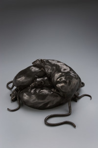 """""""Five Tails,"""" by Nicola Prinsen Bronze - 6 1/2"""" height x 18"""" circumference incl. tails Edition of 15 $5000"""
