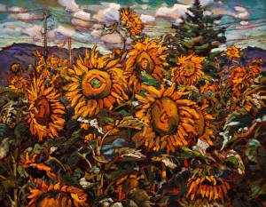 "SOLD ""Sunflower Maze Near Chilliwack,"" by Ed Loenen 20 x 24 - oil $2075 Framed"