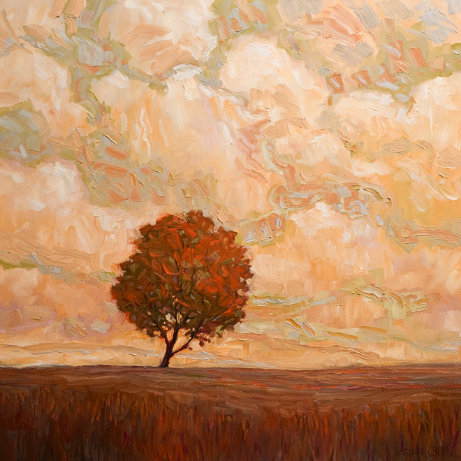 """SOLD """"Fall Tree and Soft Light,"""" by Steve Coffey 24 x 24 - oil $1730 Unframed"""
