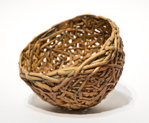 "Gold Nest (LR-213) by Laurie Rolland hand-built ceramic - 4 1/2"" (H) x 5 1/2"" (L) x 5 1/2"" (W) $300"