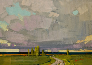 "SOLD ""Grey Skies and Green Fields,"" by Min Ma 5 x 7 – acrylic $520 Unframed $670 Custom framed"