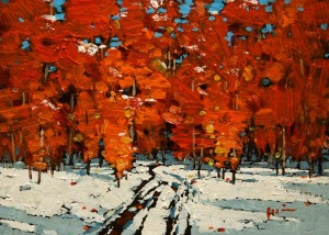 "SOLD ""Red in Winter,"" by Min Ma 5 x 7 – acrylic $520 Unframed $670 Custom framed"