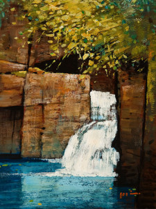"SOLD ""Twin Falls,"" by Min Ma 6 x 8 – acrylic $590 Unframed $755 Custom framed"