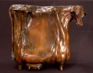 """""""Radiant Cow,"""" by Nicola Prinsen Bronze - 18 1/2"""" high x 21"""" long Edition of 5 $6900"""