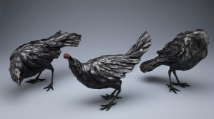 """LEFT - """"Curious Crow"""" 10"""" (L) x 6"""" (H) - bronze Edition of 25 $3000 CENTER - """"Crow with Blackberry,"""" by Nicola Prinsen 10"""" (L) x 10"""" (H) - bronze Edition of 35 $3000 RIGHT - """"Ordinary Crow"""" 10"""" (L) x 10"""" (H) - bronze Edition of 35 $3000"""