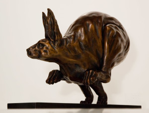 """""""Hare Today Gone Tomorrow"""", by Nicola Prinsen 11 1/2"""" (H) x 17 1/2"""" (L) - bronze $4200"""