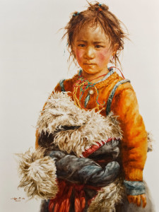 """SOLD """"Little Nima,"""" by Donna Zhang 36 x 48 - oil $9500 Unframed"""