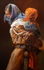 """SOLD """"Tibetan Lullaby,"""" by Donna Zhang 30 x 48 - oil $7950 Unframed"""
