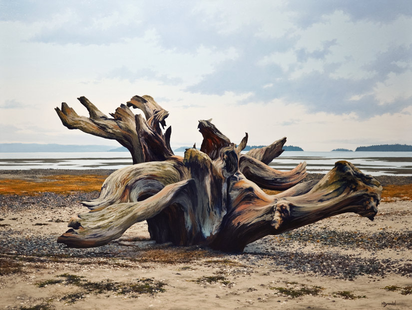 SOLD ``Sea Sculpture,`` by Merv Brandel 30 x 40 - oil $4580 (thick canvas wrap without frame)