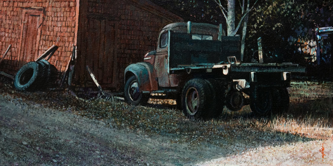 SOLD ``The Storage Shed,`` by Alan Wylie 8 x 16 - acrylic $1620 Unframed