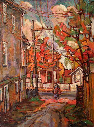 """SOLD """"2nd and Victoria, Vancouver East"""" 12 x 16 - oil $750 Framed"""