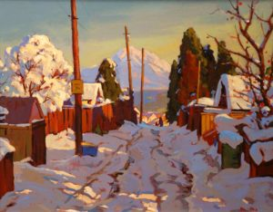 "SOLD ""After Snow,"" by Min Ma 16 x 20 – acrylic $1910 Framed"