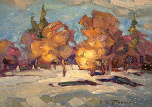 """SOLD """"Almost Winter"""" 5 x 7 - oil $395 Framed"""
