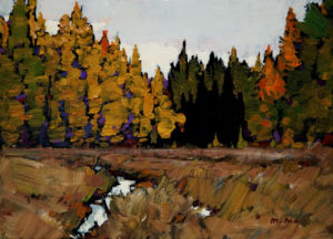 "SOLD ""At the Ravine,"" by Min Ma 5 x 7 – acrylic $420 Framed"