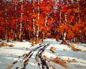 "SOLD ""Autumn Canvas,"" by Min Ma 24 x 30 – acrylic $3860 Unframed"