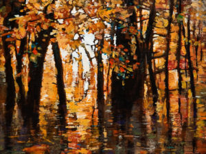 "SOLD ""Autumn's Impression (Study),"" by Min Ma 9 x 12 – acrylic $850 Unframed"