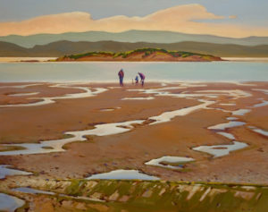 "SOLD ""Beach at Low Tide,"" by Min Ma 24 x 30 – acrylic $3890 Custom framed $3785 with standard frame"