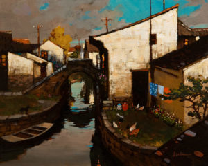 "SOLD ""Canal Sanctuary, Suzhou, China,"" by Min Ma 8 x 10 – acrylic $770 Unframed"