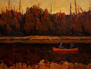 "SOLD ""Canoe Trip,"" by Min Ma 12 x 16 – acrylic $1255 Framed"