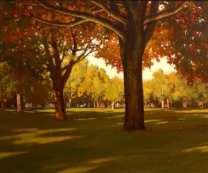 "SOLD ""Central Park,"" by Min Ma 30 x 36 – acrylic $4540 Framed"