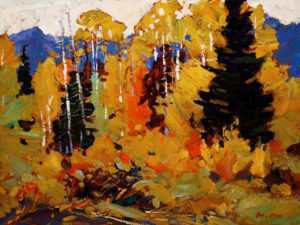 "SOLD ""Colours of Fall,"" by Min Ma 9 x 12 – acrylic $740 Unframed"