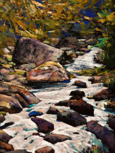 "SOLD ""The Creek,"" by Min Ma 9 x 12 – acrylic $850 Unframed"