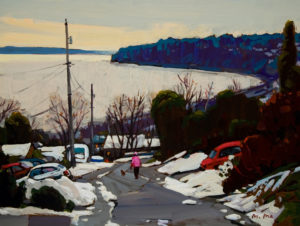 "SOLD ""Down the Road,"" by Min Ma 9 x 12 – acrylic $755 Framed"