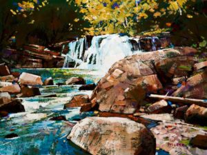 "SOLD ""Ever Flowing Water (Study),"" by Min Ma 6 x 8 – acrylic $510 Unframed $645 Custom framed"