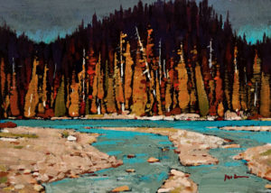 "SOLD ""Fall in the Rockies,"" by Min Ma 5 x 7 – acrylic $520 Unframed"