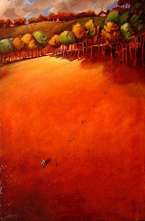 """SOLD """"Fenceline"""" 24 x 36 - oil $2200 (thick canvas wrap without frame)"""
