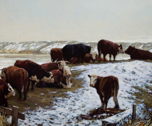 "SOLD ""Field of Cows,"" by Min Ma 20 x 24 – acrylic $2525 Framed"